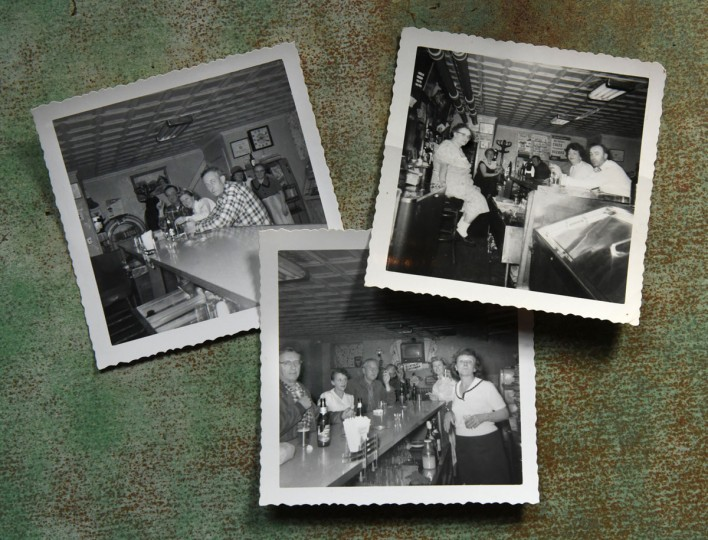 Snapshots provided by Frank DeSantis Jr. shows the intimate atmosphere when his mother, Mary Victoria DeSantis presided over the bar at the Venice Tavern. She is pictured in the background at right in the top left photo, and seated behind the bar in the top right photo. (Amy Davis/Baltimore Sun)