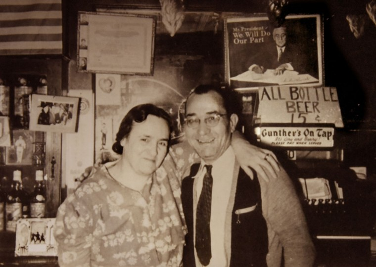Mary Victoria and Frank DeSantis Sr., founders of the Venice Tavern, in a photo from the early 1940s, when beers were 15 cents. Mary Victoria was from Naples, but her son Frank DeSantis Jr. said her fondness for Venice led her to name the bar the Venice Tavern. (Courtesy of Dominic DeSantis)