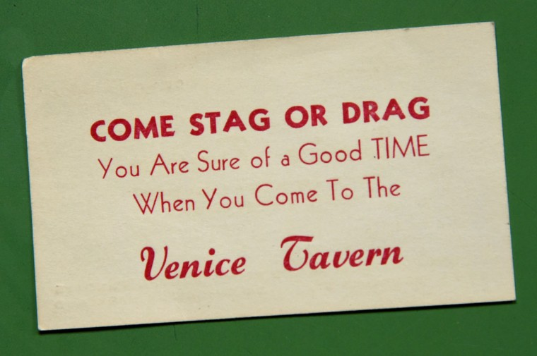 An old business card from the Venice Tavern in Highlandtown, from back in the day when there was a bar on almost every corner, and usually one in the middle of the block, too. (Amy Davis/Baltimore Sun)