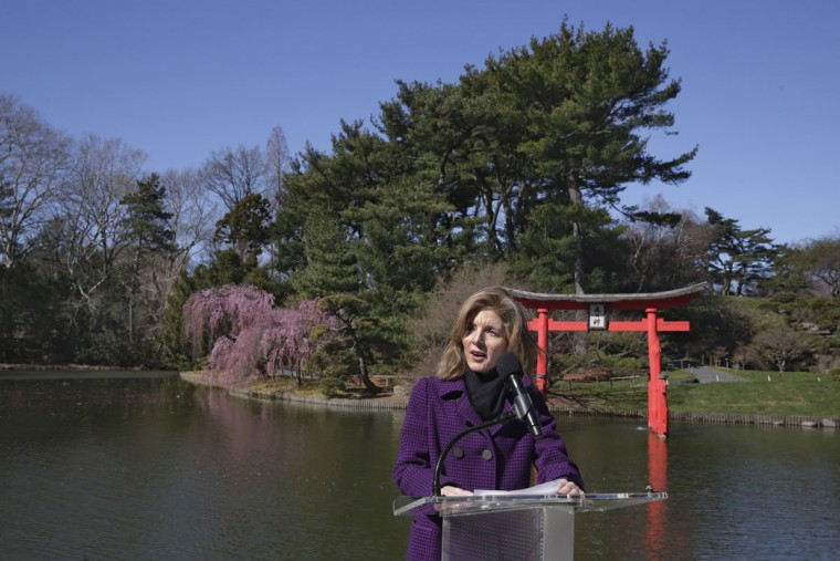 U.S. Ambassador to Japan Caroline Kennedy delivers her remarks during ceremonies marking the 100th anniversary year of the Japanese Hill-and-Pond Garden, at the Brooklyn Botanic Garden, in New York, Tuesday, March 29, 2016. (AP Photo/Richard Drew)