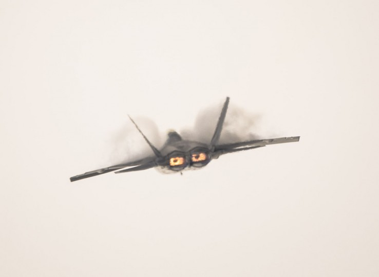 A US F22 Raptor aircraft overflies during the XIX Air and Space Fair (FIDAE) in Santiago on March 28, 2016. (MARTIN BERNETTI/AFP/Getty Images)
