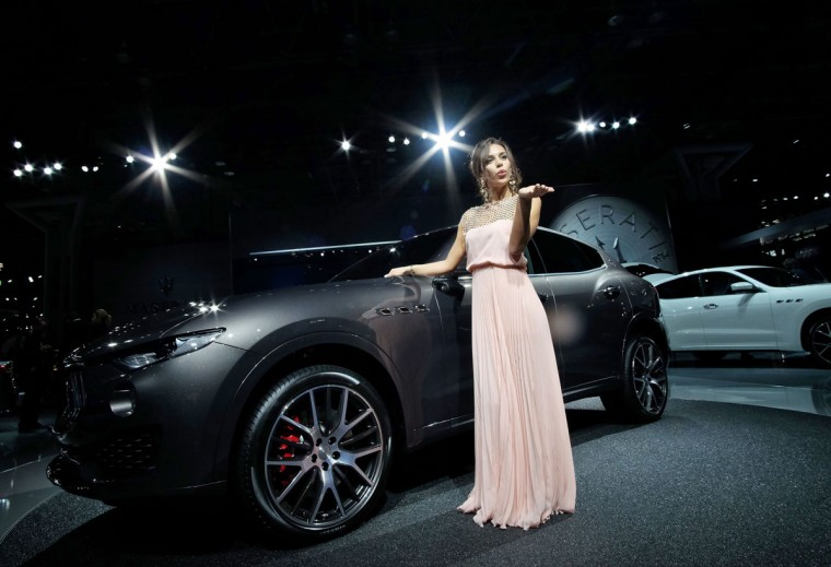 The 2017 Maserati Levante SUV is pictured during the New York International Auto Show on March 24, 2016. (JEWEL SAMAD/AFP/Getty Images)
