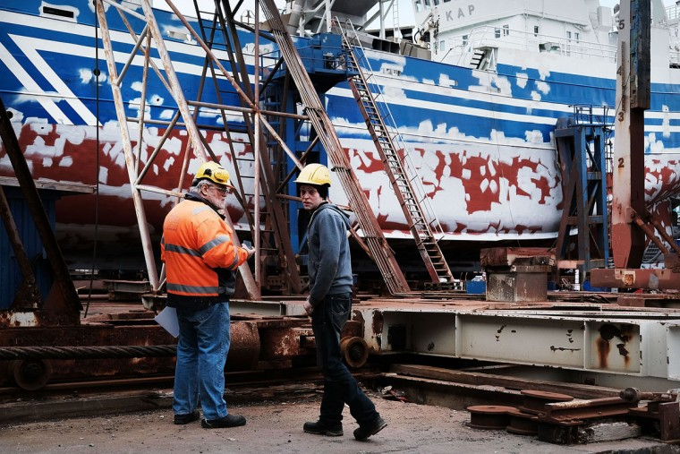 REYKJAVIK, ICELAND - APRIL 06: Men work in a shipyard on April 6, 2016 in Reykjavik, Iceland. Icelandic Prime Minister Sigmundur David Gunnlaugsson has stepped down after news broke on Sunday that he had hid his assets in an offshore shell-company whose existence was revealed by the Panama Papers. Numerous leaders around the world as well as wealthy individuals have been caught-up in the developing scandal. The island of just 320,000 people had only recently recovered from the global banking collapse in 2008. (Photo by Spencer Platt/Getty Images)