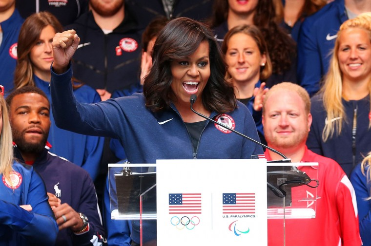 First lady of the United States Michelle Obama speaks during Team USA's Road to Rio Tour presented by Liberty Mutual on April 27, 2016 in New York City. The event marks 100 days until the Opening Ceremony of the Rio 2016 Olympic Games. (Photo by Ed Mulholland/Getty Images for USOC)