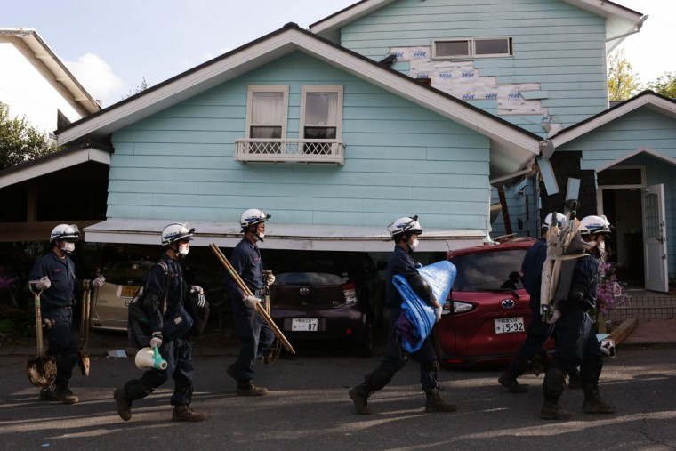 KUMAMOTO, JAPAN - APRIL 17: Rescue teams prepare to search for survivors on April 17, 2016 in Kumamoto, Japan. A magnitude-7.3 earthquake hit Kumamoto prefecture on Japan's Kyushu Island on Saturday after one measuring 6.4 struck on Thursday. As of Sunday, reports indicate that 42 people have been killed, 1,500 were injured, and 11 people remain missing. An estimated 80,000 homes are without power and 400,000 homes have no running water. (Photo by Taro Karibe/Getty Images) KUMAMOTO, JAPAN - APRIL 17: Rescue teams prepare to search for survivors on April 17, 2016 in Kumamoto, Japan. A magnitude-7.3 earthquake hit Kumamoto prefecture on Japan's Kyushu Island on Saturday after one measuring 6.4 struck on Thursday. As of Sunday, reports indicate that 42 people have been killed, 1,500 were injured, and 11 people remain missing. An estimated 80,000 homes are without power and 400,000 homes have no running water. (Photo by Taro Karibe/Getty Images)