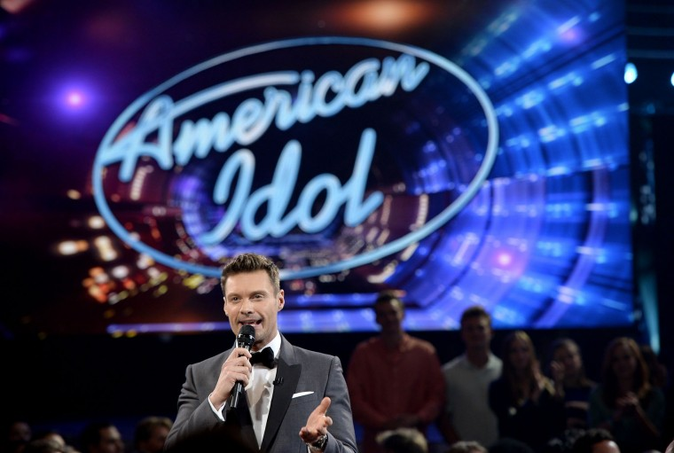 "Host Ryan Seacrest speaks in the audience during FOX's ""American Idol"" Finale For The Farewell Season at Dolby Theatre on April 7, 2016 in Hollywood, California. (Photo by Kevork Djansezian/Getty Images)"