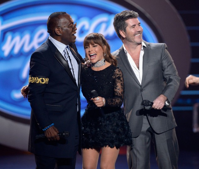 "(L-R) Season 1 judges Randy Jackson, Paula Abdul and Simon Cowell speak onstage during FOX's ""American Idol"" Finale For The Farewell Season at Dolby Theatre on April 7, 2016 in Hollywood, California. (Photo by Kevork Djansezian/Getty Images)"