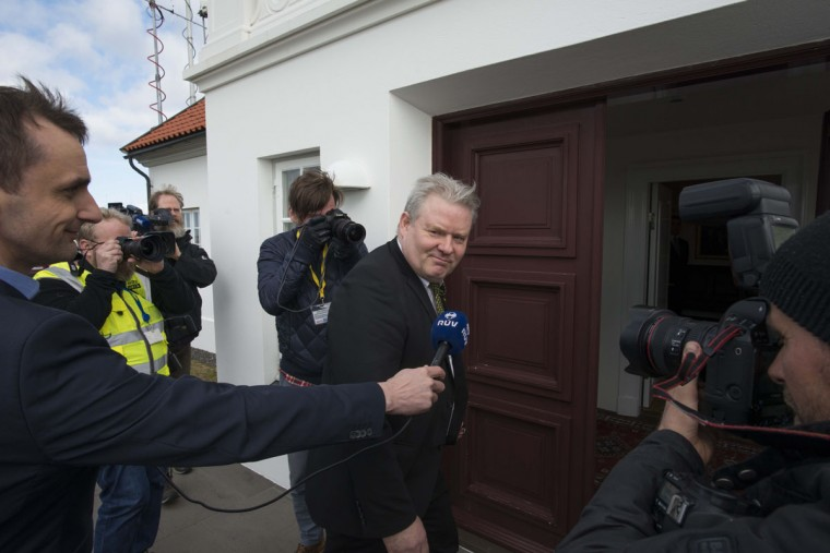 Iceland's new prime minister Sigurdur Ingi Johannsson of the Progressive Partys arrives at the President's residence in Reykjavik, on April 7, 2016 Sigurdur Ingi Johannsson was chosen to replace Sigmundur David Gunnlaugsson, who resigned amid mass protests over a hidden offshore account revealed in the so-called Panama Papers leak. (AFP PHOTO / HALLDOR KOLBEINSHALLDOR KOLBEINS/AFP/Getty Images)