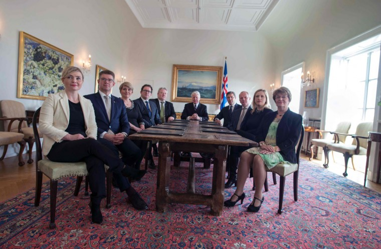 Iceland's new prime minister Sigurdur Ingi Johannsson (5th L) of the Progressive Partys and other government members attend a meeting chaired by Iceland's President Olafur Ragnar Grimsson (C) at the President's residence in Reykjavik, on April 7, 2016 Sigurdur Ingi Johannsson was chosen to replace Sigmundur David Gunnlaugsson, who resigned amid mass protests over a hidden offshore account revealed in the so-called Panama Papers leak. / AFP PHOTO / HALLDOR KOLBEINSHALLDOR KOLBEINS/AFP/Getty Images