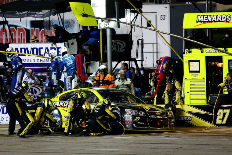 FORT WORTH, TEXAS - APRIL 09: Paul Menard, driver of the #27 Rockstar Energy/Menards Chevrolet, pits during the NASCAR Sprint Cup Series Duck Commander 500 at Texas Motor Speedway on April 9, 2016 in Fort Worth, Texas. (Photo by Sarah Crabill/Getty Images for Texas Motor Speedway)