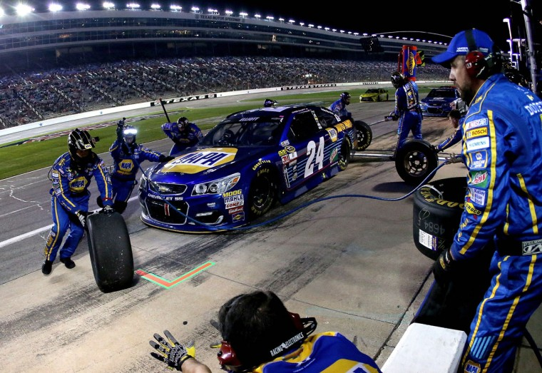FORT WORTH, TEXAS - APRIL 09: Chase Elliott, driver of the #24 NAPA Auto Parts Chevrolet, pits during the NASCAR Sprint Cup Series Duck Commander 500 at Texas Motor Speedway on April 9, 2016 in Fort Worth, Texas. (Photo by Sean Gardner/Getty Images)