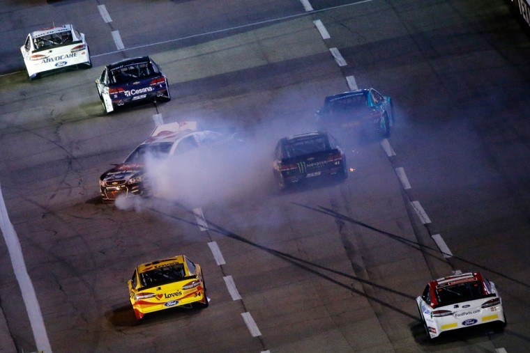 FORT WORTH, TEXAS - APRIL 09: Austin Dillon, driver of the #3 DOW - Solar Chevrolet, has an on track incident during the NASCAR Sprint Cup Series Duck Commander 500 at Texas Motor Speedway on April 9, 2016 in Fort Worth, Texas. (Photo by Ron Jenkins/Getty Images)