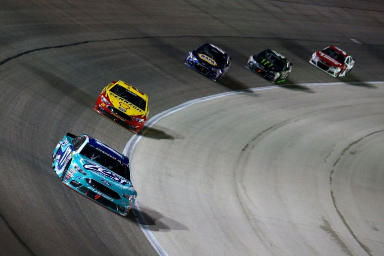 FORT WORTH, TEXAS - APRIL 09: Ricky Stenhouse Jr., driver of the #17 Zest Ford, leads a pack of carsduring the NASCAR Sprint Cup Series Duck Commander 500 at Texas Motor Speedway on April 9, 2016 in Fort Worth, Texas. (Photo by Sarah Crabill/Getty Images for Texas Motor Speedway)