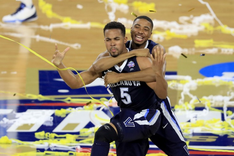 Phil Booth #5 and Mikal Bridges #25 of the Villanova Wildcats celebrate defeating the North Carolina Tar Heels 77-74 to win the 2016 NCAA Men's Final Four National Championship game at NRG Stadium on April 4, 2016 in Houston, Texas. (Photo by Scott Halleran/Getty Images)