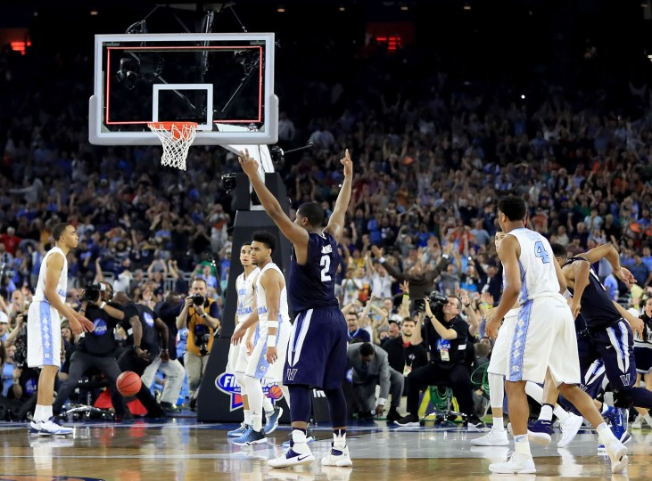 Kris Jenkins #2 of the Villanova Wildcats celebrates after making the game-winning three pointer to defeat the North Carolina Tar Heels 77-74 in the 2016 NCAA Men's Final Four National Championship game at NRG Stadium on April 4, 2016 in Houston, Texas. (Photo by Ronald Martinez/Getty Images)
