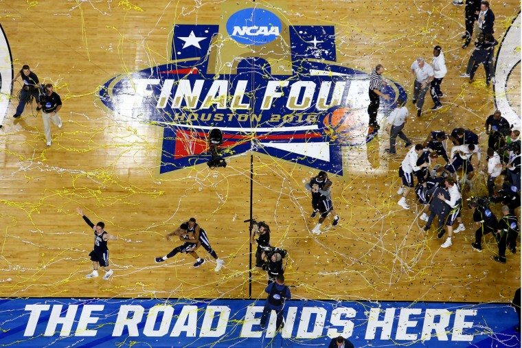 The Villanova Wildcats celebrate defeating the North Carolina Tar Heels 77-74 to win the 2016 NCAA Men's Final Four National Championship game at NRG Stadium on April 4, 2016 in Houston, Texas. (Photo by Streeter Lecka/Getty Images)