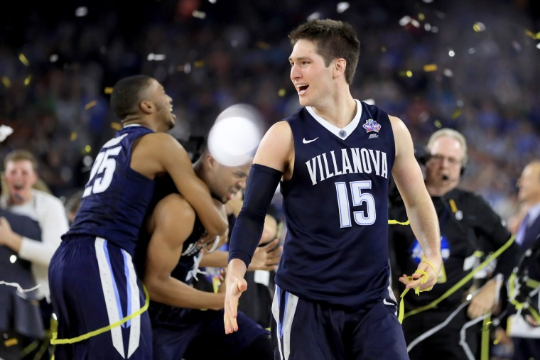 Ryan Arcidiacono #15 of the Villanova Wildcats celebrates defeating the North Carolina Tar Heels 77-74 to win the 2016 NCAA Men's Final Four National Championship game at NRG Stadium on April 4, 2016 in Houston, Texas. (Photo by Ronald Martinez/Getty Images)