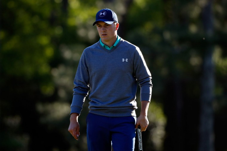 Jordan Spieth of the United States reacts on the 14th green during the third round of the 2016 Masters Tournament at Augusta National Golf Club on April 9, 2016 in Augusta, Georgia. (Photo by Kevin C. Cox/Getty Images)