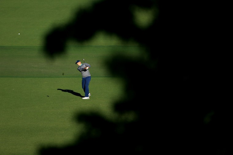 Jordan Spieth of the United States plays a shot on the 15th hole during the third round of the 2016 Masters Tournament at Augusta National Golf Club on April 9, 2016 in Augusta, Georgia. (Photo by David Cannon/Getty Images)