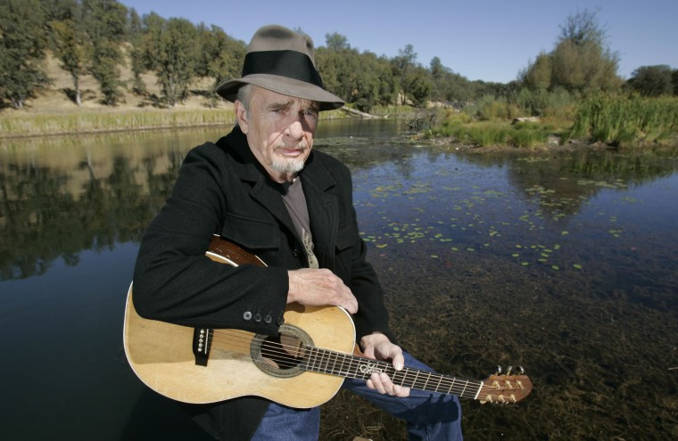 FILE - In this Oct. 2, 2007 file photo, Merle Haggard poses at his ranch at Palo Cedro, Calif. Haggard died of pneumonia, Wednesday, April 6, 2016, in Palo Cedro, Calif. He was 79. (AP Photo/Rich Pedroncelli, FIle)