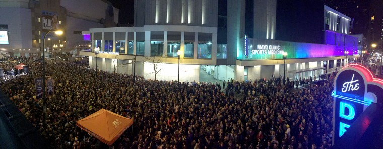 "A crowd gathers outside of First Ave., a dance venue, to honor Prince in Minneapolis, on Thursday, April 21, 2016. Prince, widely acclaimed as one of the most inventive and influential musicians of his era with hits including ""Little Red Corvette,"" ''Let's Go Crazy"" and ""When Doves Cry,"" was found dead at his home on Thursday in suburban Minneapolis, according to his publicist. He was 57. (Aaron Lavinsky/Star Tribune via AP)"