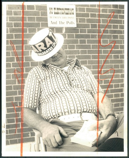 Fred Koch, precinct worker for Stephen J. Arata, Democratic candidate for the House of Delegates in Baltimore county's 13 legislative district, was caught napping yesterday as the light voter turnout slowed the pace at his polling place. 1974