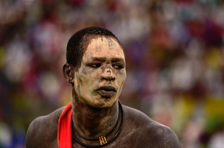 A wrestler from Jonglei state takes part in the South Sudan National Wrestling Competition for peace at Juba Stadium, on April 20, 2016. (CARL DE SOUZA/AFP/Getty Images)