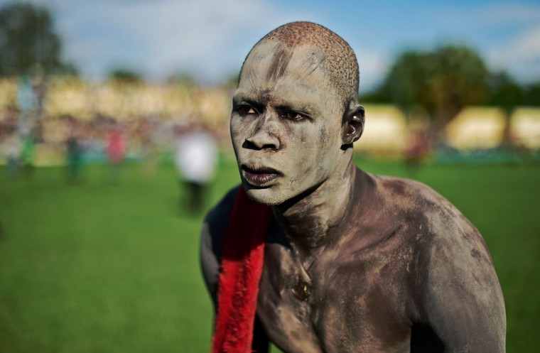 A wrestler from Terekeka takes part in the semifinal of the South Sudan National Wrestling Competition for peace at Juba Stadium, South Sudan, on April 21, 2016. (CARL DE SOUZA/AFP/Getty Images)
