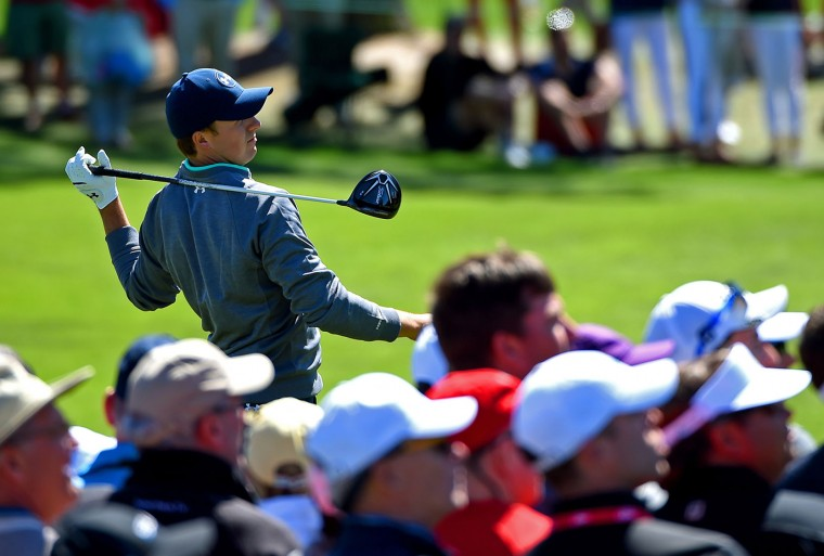 Jordan Spieth follows through on his swing from the 3rd tee during the third round of the 80th Masters at the Augusta National Golf Club in Augusta, Ga., on Saturday, April 9, 2016. (Jeff Siner/Charlotte Observer/TNS)