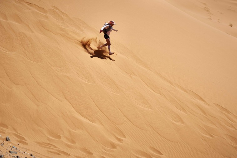 A competitor takes part in the 31st edition of the Marathon des Sables On April 11, 2016 in the southern Moroccan Sahara desert. (JEAN-PHILIPPE KSIAZEK/AFP/Getty Images)