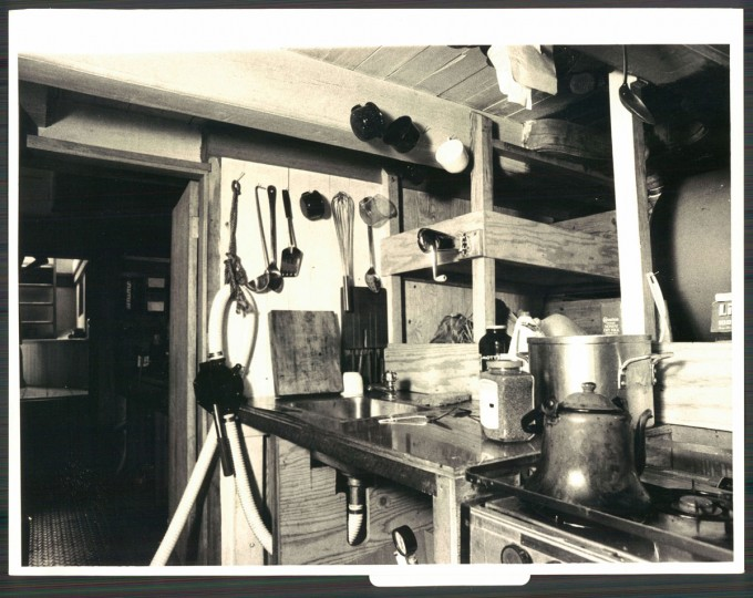 Kitchen of the Pride of Baltimore, photo dated 1986.