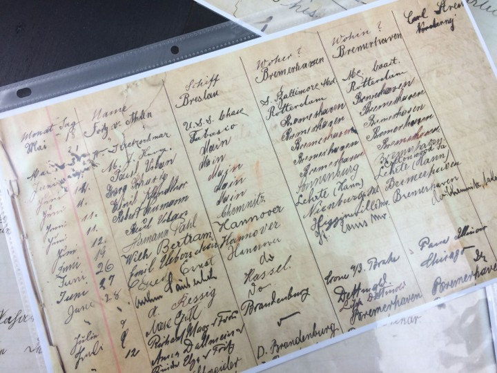 Copies of the guestbook at the German Immigrant House show mostly the names of sailors who sailed back and forth between Baltimore and the port of Bremen, where ships originated from. (Christina Tkacik/Baltimore Sun)