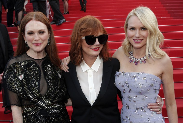 From left actresses Julianne Moore, Susan Sarandon and Naomi Watts pose for photographers as they arrive for the screening of the film Cafe Society and the Opening Ceremony at the 69th international film festival, Cannes, southern France, Wednesday, May 11, 2016. (AP Photo/Thibault Camus)