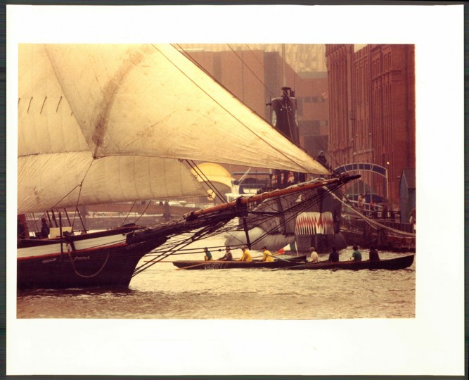 The Pride of Baltimore in Inner Harbor, undated photo.