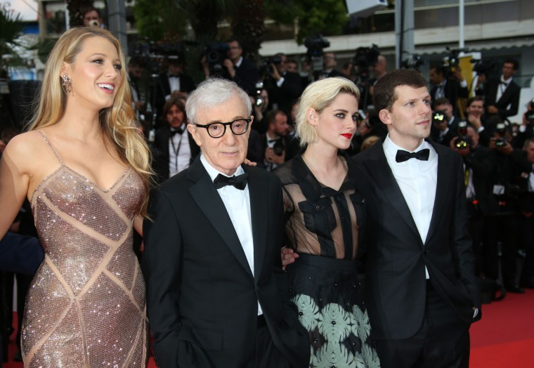 Actress Blake Lively, from left, director Woody Allen, Kristen Stewart and Jesse Eisenberg pose for photographers upon arrival at the screening of the film Cafe Society and the Opening Ceremony at the 69th international film festival, Cannes, southern France, Wednesday, May 11, 2016. (AP Photo/Joel Ryan)