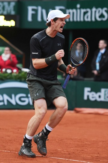 Andy Murray of Great Britain celebrates during the Men's Singles first round match against Radek Stepanek of the Czech Republic on day two of the 2016 French Open at Roland Garros on May 23, 2016 in Paris, France. (Photo by Dennis Grombkowski/Getty Images)