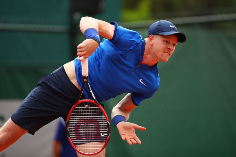 Kyle Edmund of Great Britain serves during the Men's Singles first round match against Nikoloz Basilashvili of Georgia on day two of the 2016 French Open at Roland Garros on May 23, 2016 in Paris, France. (Photo by Clive Brunskill/Getty Images)