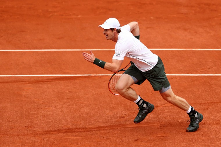 Andy Murray of Great Britain in action during the Men's Singles first round match against Radek Stepanek of the Czech Republic on day two of the 2016 French Open at Roland Garros on May 23, 2016 in Paris, France. (Photo by Julian Finney/Getty Images)