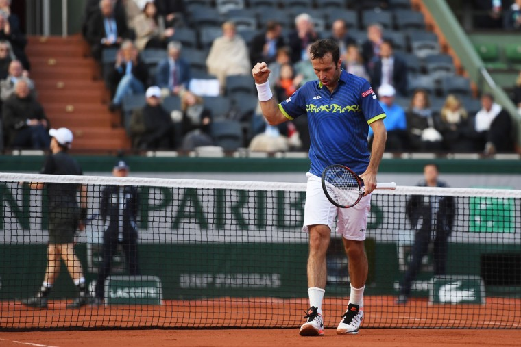 Radek Stepanek of Czech Republic celebrates during the Men's Singles first round match against Andy Murray of Great Britain on day two of the 2016 French Open at Roland Garros on May 23, 2016 in Paris, France. (Photo by Dennis Grombkowski/Getty Images)
