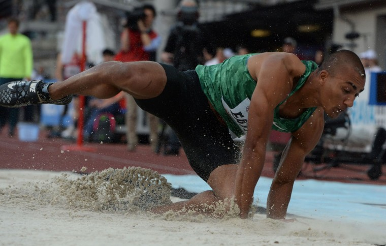 Ashton Eaton of the United States competes during the Long Jump competition at the IAAF World challenge Zlata Tretra (Golden Spike) athletics tournament in Ostrava, on May 20, 2016. (AFP Photo/Michal Cizek)