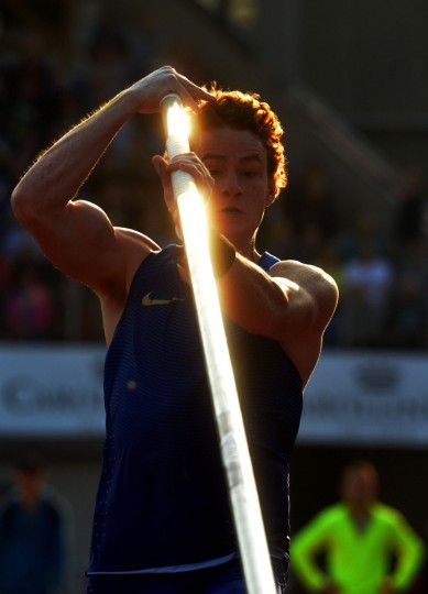 Shawnacy Barber of Canada competes during the Men's Pole Vault event at the IAAF World challenge Zlata Tretra (Golden Spike) athletics tournament in Ostrava, on May 20, 2016. (AFP Photo/Michal Cizek)