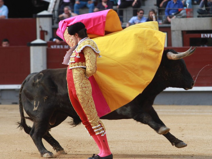 French matador Juan Leal performs a pass on a bull during the San Isidro Feria at Las Ventas bullring in Madrid on May 17, 2016. (Alberto Simon/AFP/Getty Images)