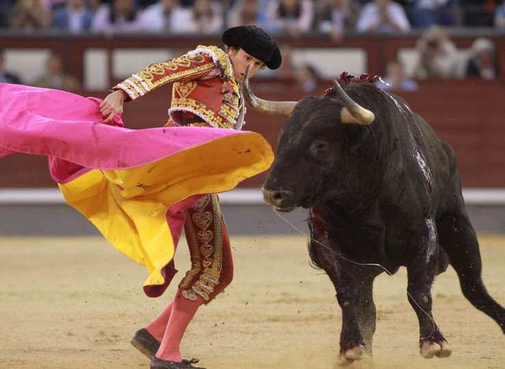 "Spanish matador Roman performs a pass with ""capote"" to a bull during the San Isidro Feria at Las Ventas bullring in Madrid on May 19, 2016. (Alberto Simon/AFP/Getty Images)"