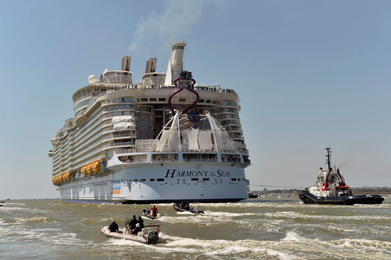 A photo taken on May 15, 2016 shows the Harmony of the Seas cruise ship as it sails from the STX Saint-Nazaire shipyard, western France. (JEAN-FRANCOIS MONIER/AFP/Getty Images)