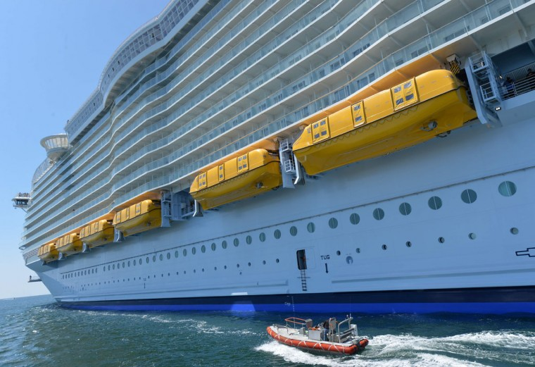 A photo taken on May 15, 2016 shows the Harmony of the Seas cruise ship as it sails from the STX Saint-Nazaire shipyard, western France, out to sea. (JEAN-FRANCOIS MONIER/AFP/Getty Images)