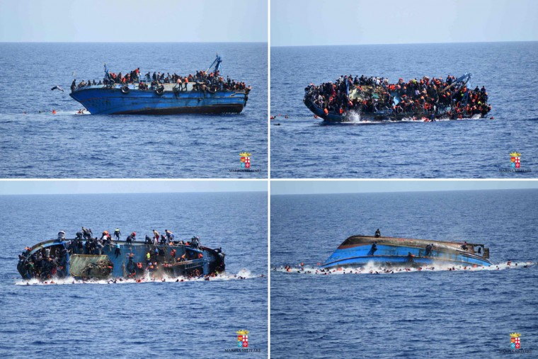 "This combination of handout pictures released on May 25, 2016 by the Italian Navy (Marina Militare) shows the shipwreck of an overcrowded boat of migrants off the Libyan coast today. At least seven migrants have drowned after the heavily overcrowded boat they were sailing on overturned, the Italian navy said. The navy said 500 people had been pulled to safety and seven bodies recovered, but rescue operations were continuing and the death toll could rise. The navy's Bettica patrol boat spotted ""a boat in precarious conditions off the coast of Libya with numerous migrants aboard,"" it said in a statement. (AFP PHOTO / MARINA MILITARE)"