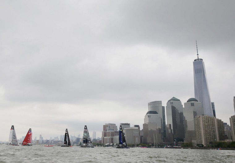 Boats sail past lower Manhattan during Day 1 of the Louis Vuitton America's Cup World Series Race on May 7, 2016 in New York City. (Photo by Al Bello/Getty Images)