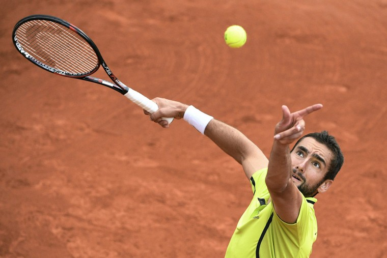 Croatia's Marin Cilic serves the ball to Argentina's Marco Trungelliti during their men's first round match at the Roland Garros 2016 French Tennis Open in Paris on May 23, 2016. (Martin Bureau/AFP/Getty Images)