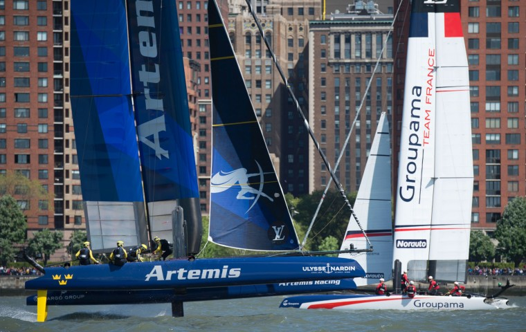 Artemis Racing and Groupama Team France cross during the second race of the Louis Vuitton America's Cup World Series New York May 8, 2016 in New York. (Don Emmert/AFP/Getty Images)