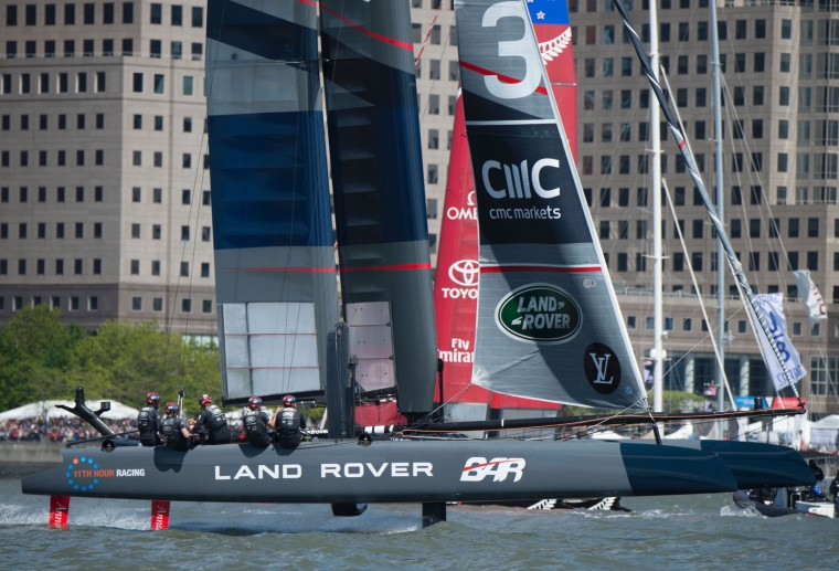 Land Rover BAR competes during the first race of the Louis Vuitton America's Cup World Series New York May 8, 2016 in New York. (Don Emmert/AFP/Getty Images)